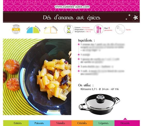 Fiche recette dessert : Dés d'Ananas aux épices - PDF