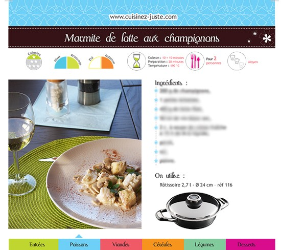 Fiche recette Poisson : Marmite de lotte aux champignons - PDF
