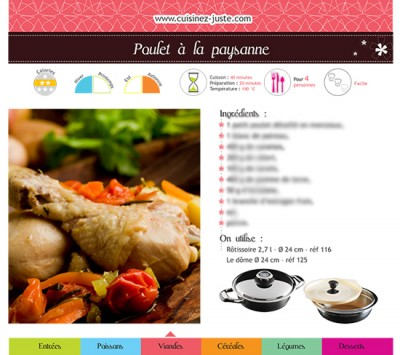 Fiche recette Viande  Poulet à la paysanne , PDF