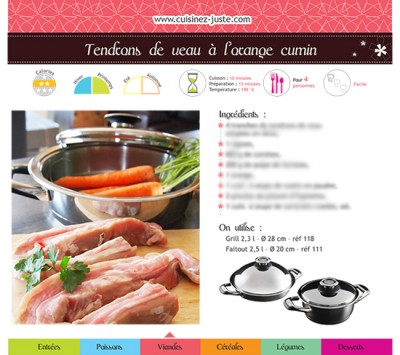 Fiche recette Viande : Tendrons de veau à l'orange cumin - PDF